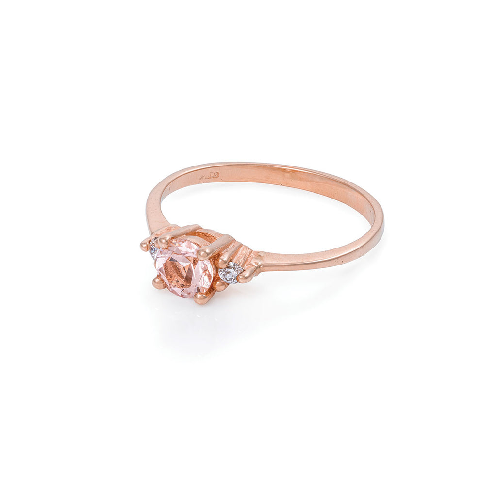 Chupi - Morganite & Classic Diamond Engagement Ring - Solid Rose Gold - Polished Band Love Is All