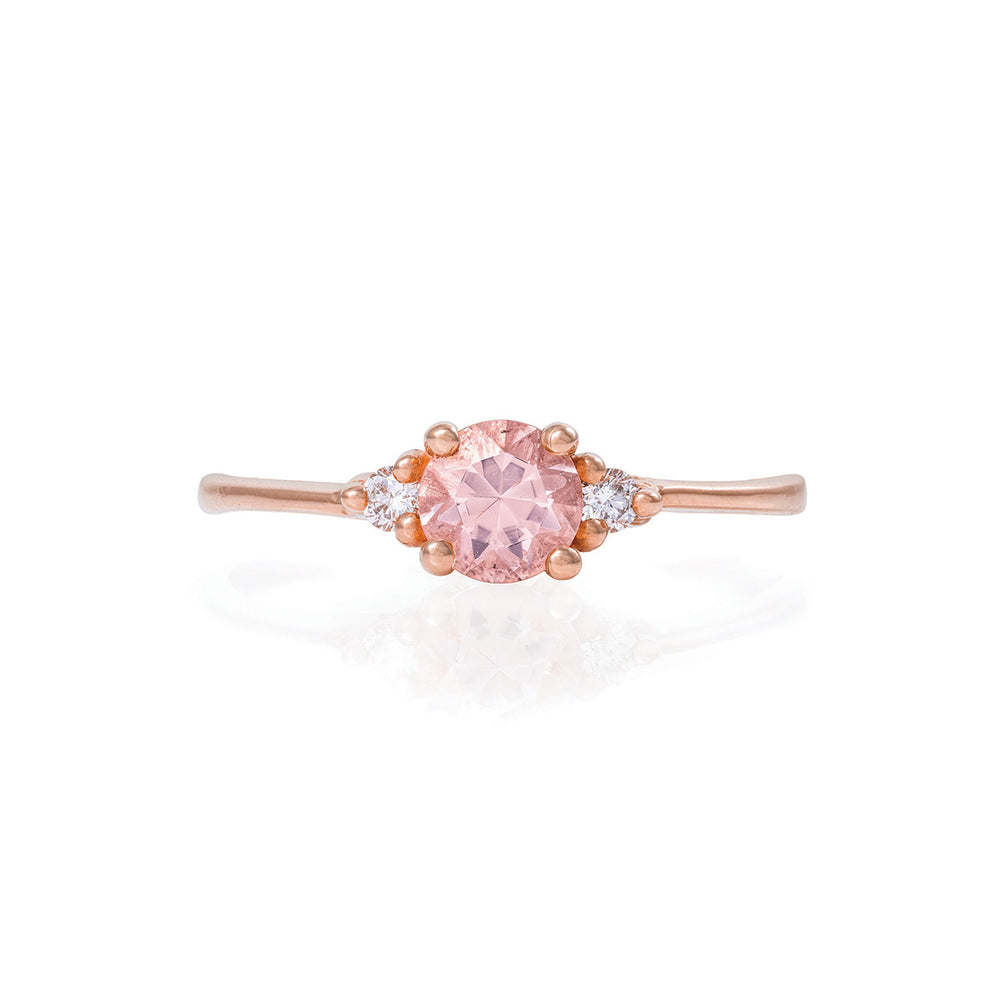 Solid Rose Gold Love is All - Morganite & Classic Diamond Polished Band Ring