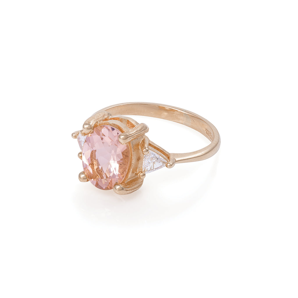 Chupi - Morganite & Classic Diamond Engagement Ring - Solid Rose Gold - Polished Band One in a Trillion