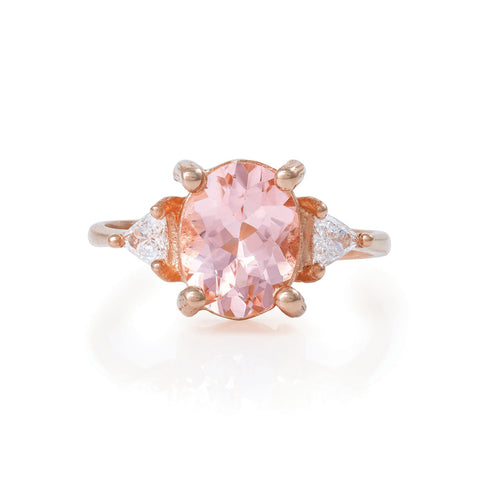 Solid Rose Gold One In A Trillion - Morganite & Diamond Polished Band Ring