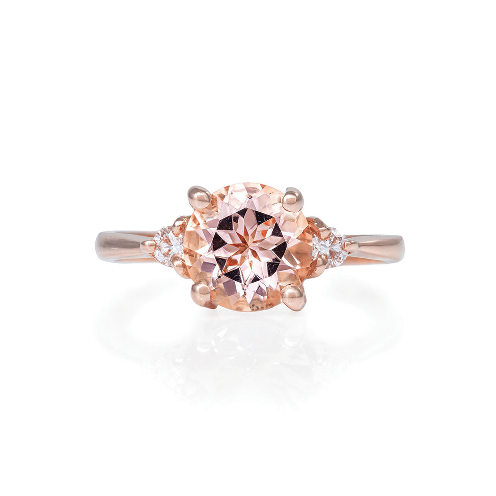 Solid Rose Gold You Me & Magic - Two Carat Morganite & Classic Diamond Polished Band Ring