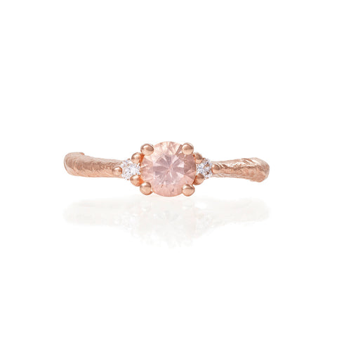 Solid Rose Gold Love is All - Morganite & Classic Diamond Ring