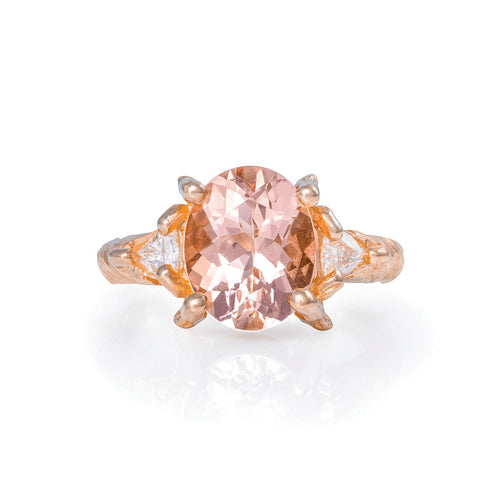 image of Solid Rose Gold One In A Trillion - Morganite & Diamond Ring