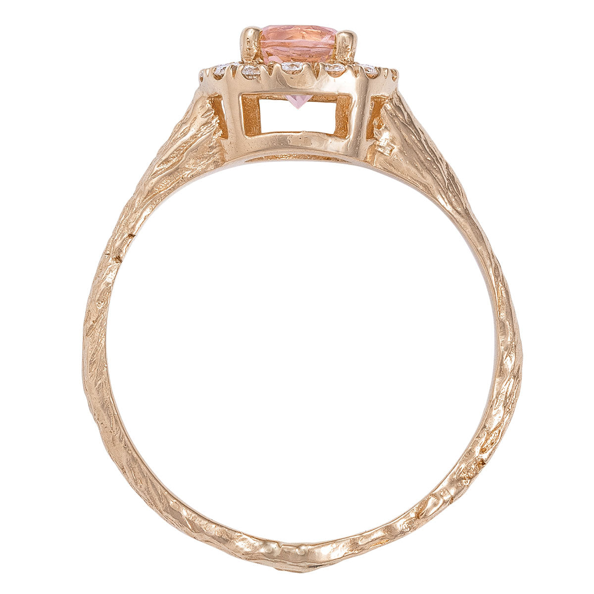 Chupi - Morganite & Diamond Halo Engagement Ring - Solid Rose Gold - Half Carat Round Queen of Hearts