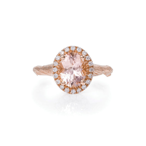 Chupi - Morganite & Diamond Halo Engagement Ring - Solid Rose Gold - Oval Queen of Hearts