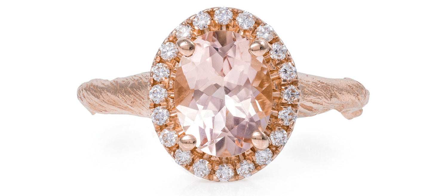 Solid Rose Gold Queen of Hearts - Oval Morganite Halo Ring