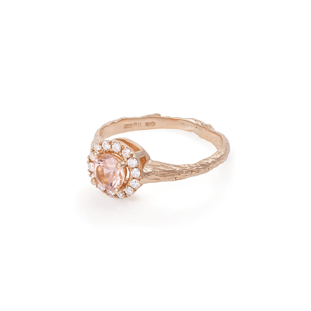 Solid Rose Gold Queen of Hearts - Round Half Carat Morganite Halo Ring