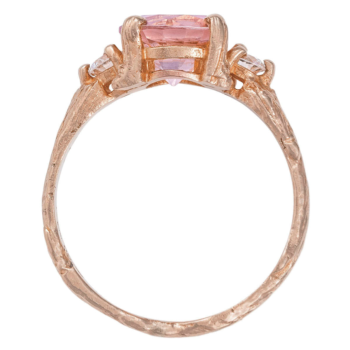 Chupi - Morganite & Classic Diamond Engagement Ring - Solid Rose Gold - Twig Band You Me & Magic