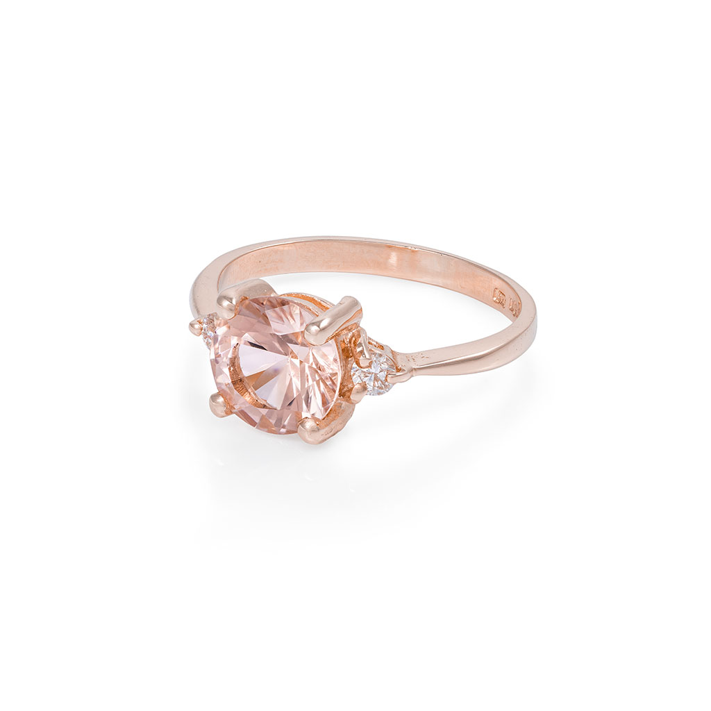 Solid Rose Gold You Me & Magic - Two Carat Morganite Polished Band Ring