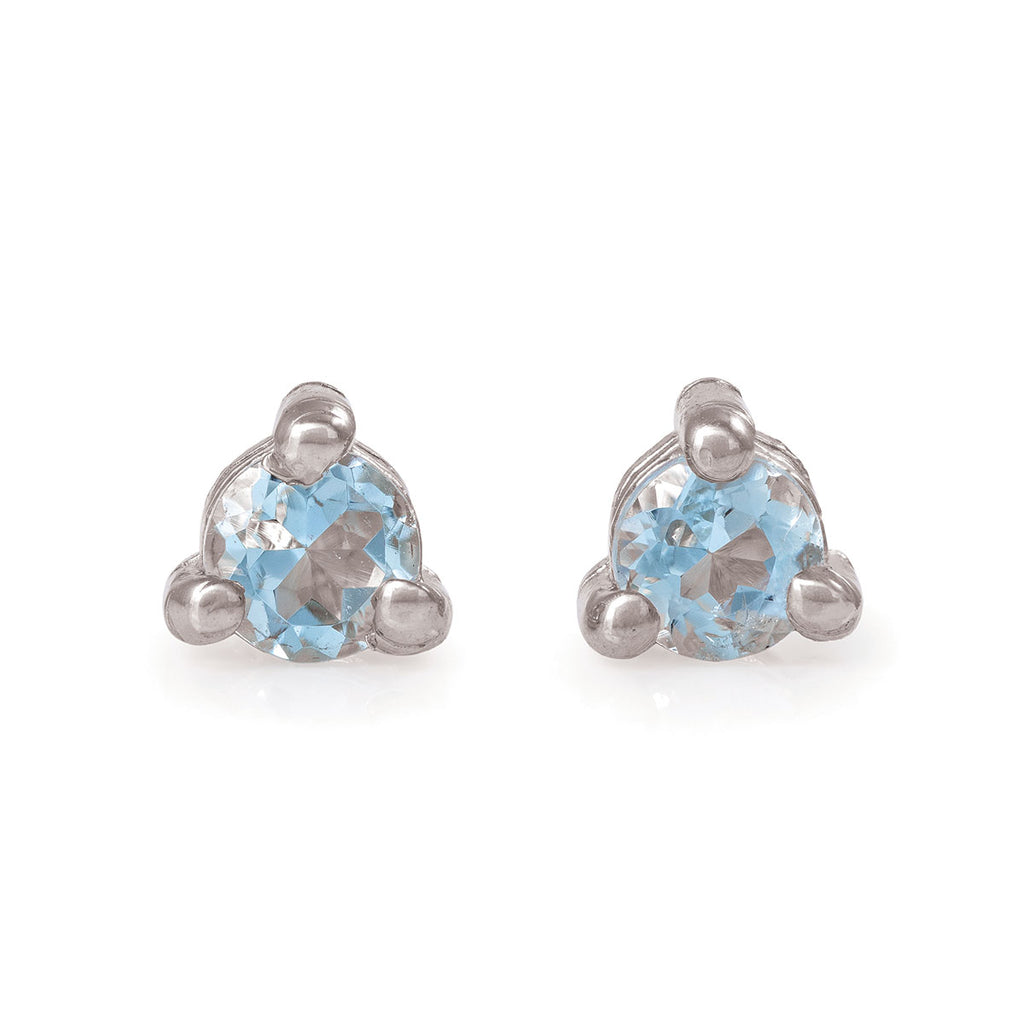 image-Solid White Gold Lucky Star Birthstone Stud Earrings