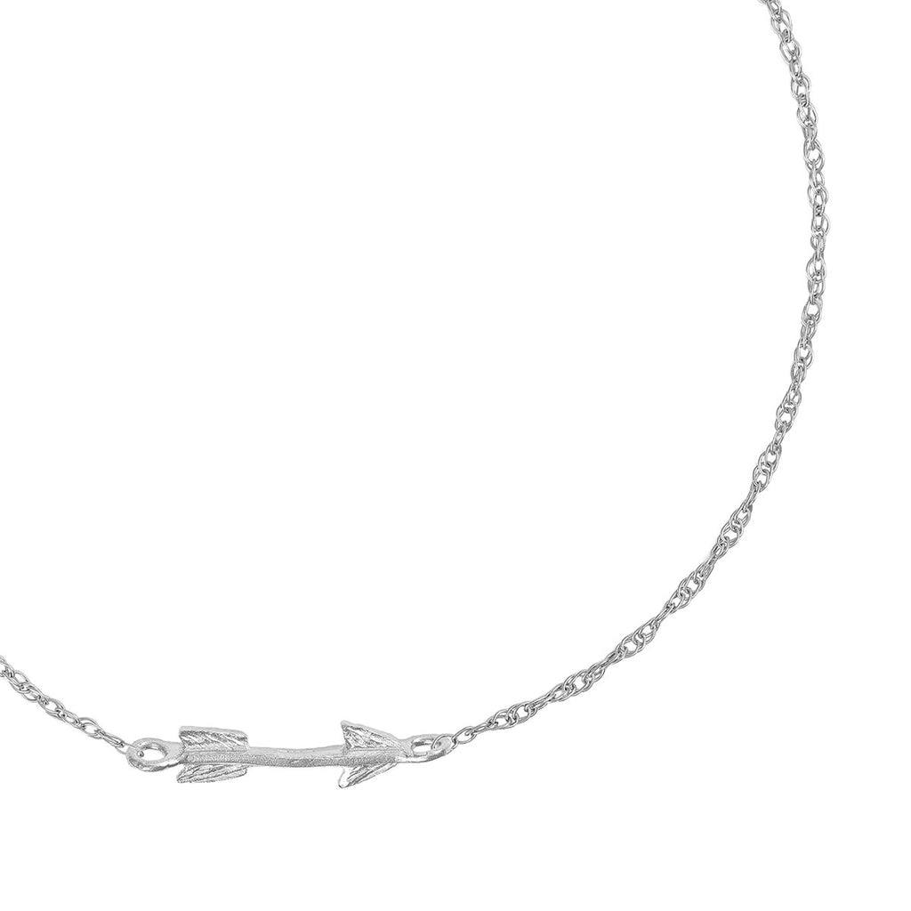 image-Solid White Gold Follow Your Dreams Arrow Bracelet