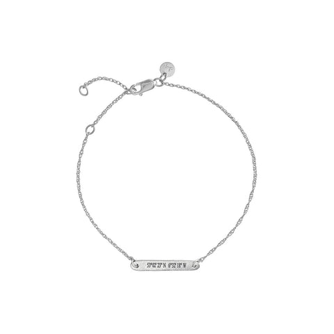 Chupi - Coordinates Bar Bracelet - Solid White Gold - Not All Those Who Wander Are Lost
