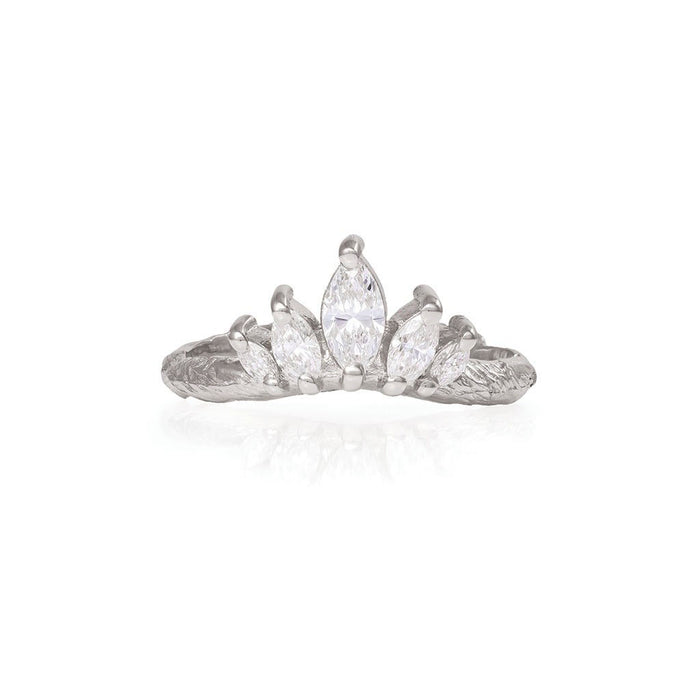 Solid White Gold Crown of Hope Marquise Classic Diamond Ring