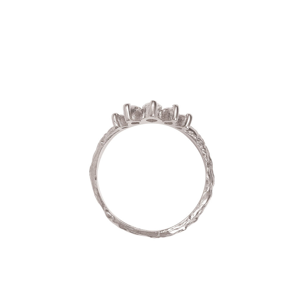 image-Solid White Gold Crown of Hope Marquise Classic Diamond Ring