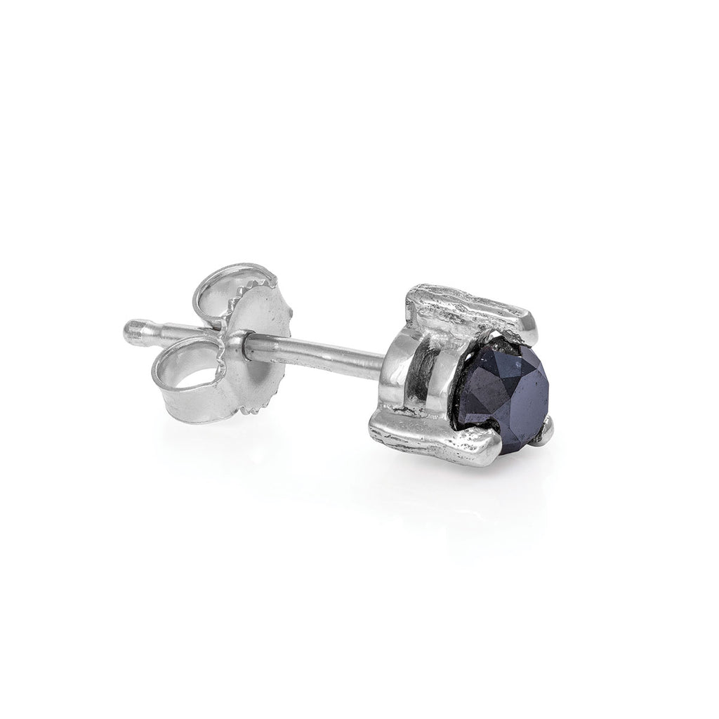 image-Solid White Gold Hope And Magic Midi Stud Earring Black Diamond - Single
