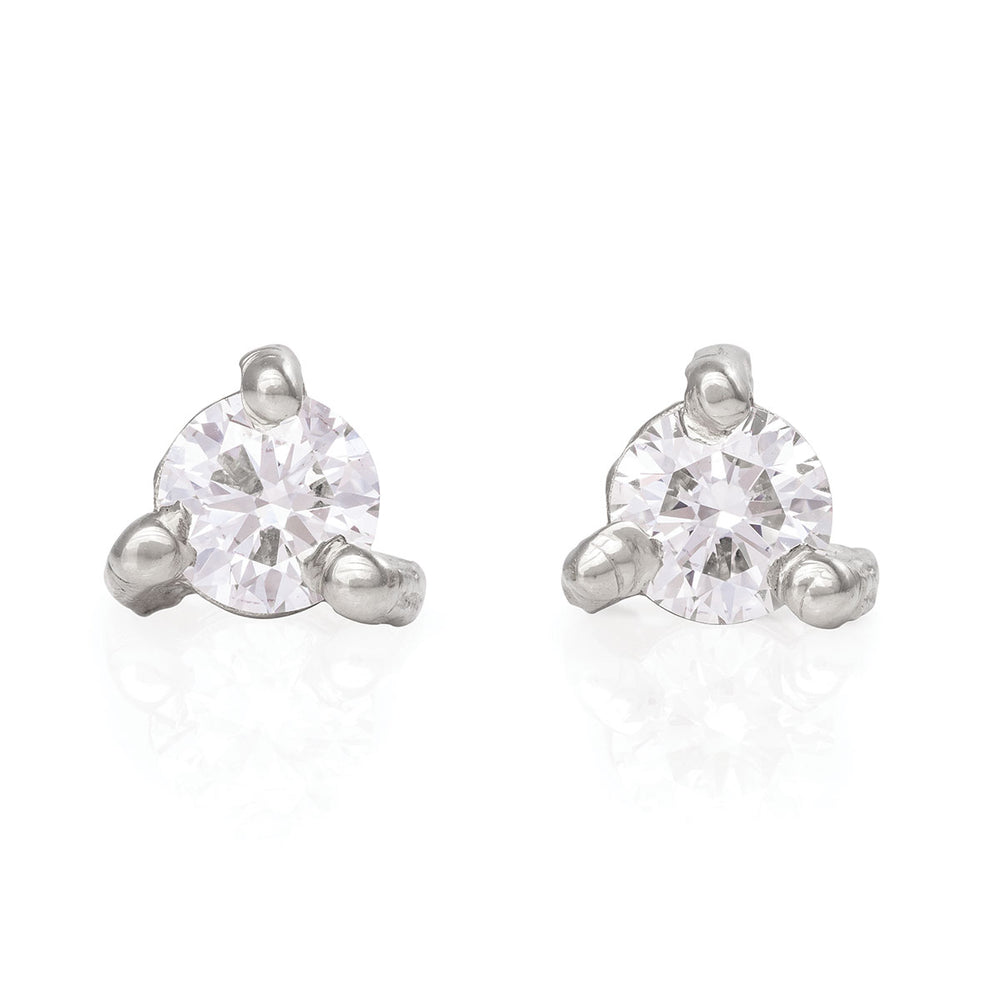 Chupi - Classic Diamond Stud Earrings - Hope & Magic Midi - Solid White Gold
