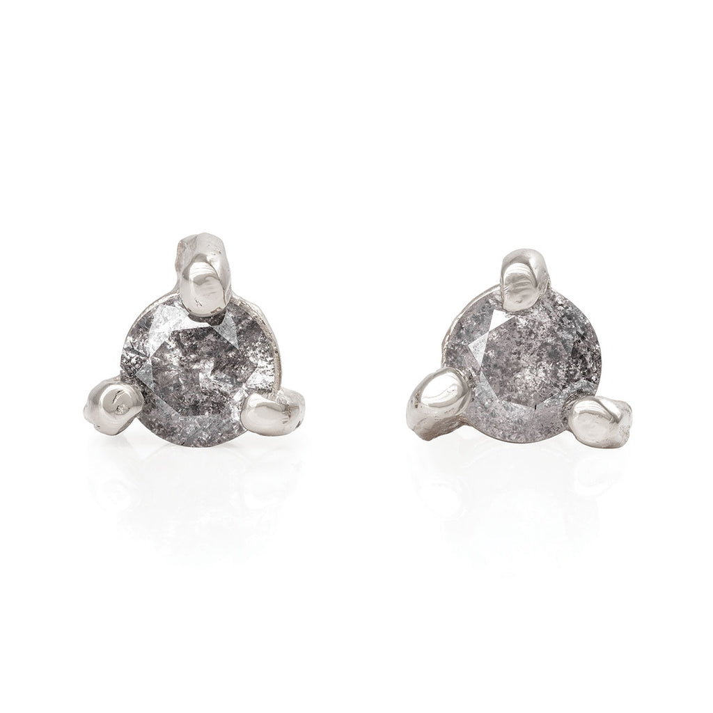 image-Solid White Gold Hope And Magic Midi Stud Earrings Grey Diamond