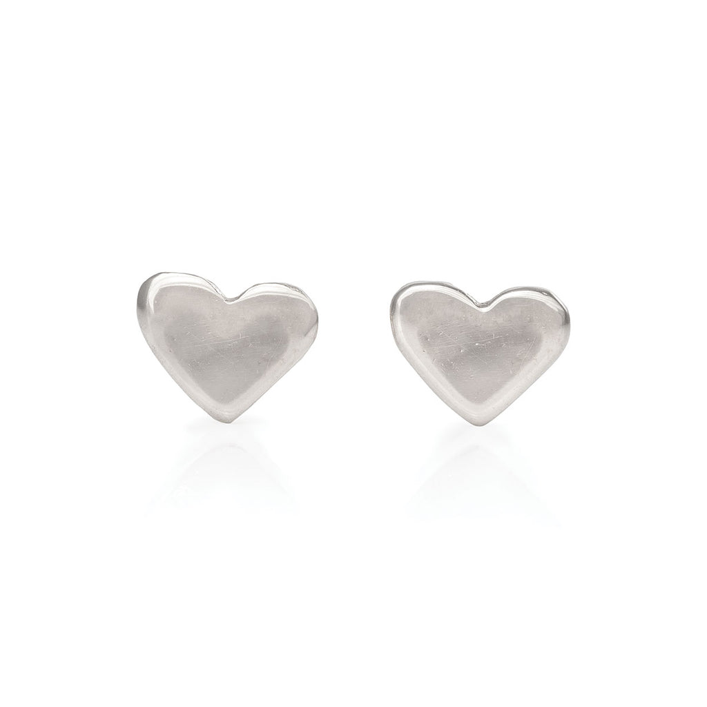 Chupi - Heart Stud Earrings - Solid White Gold You Are My Heart