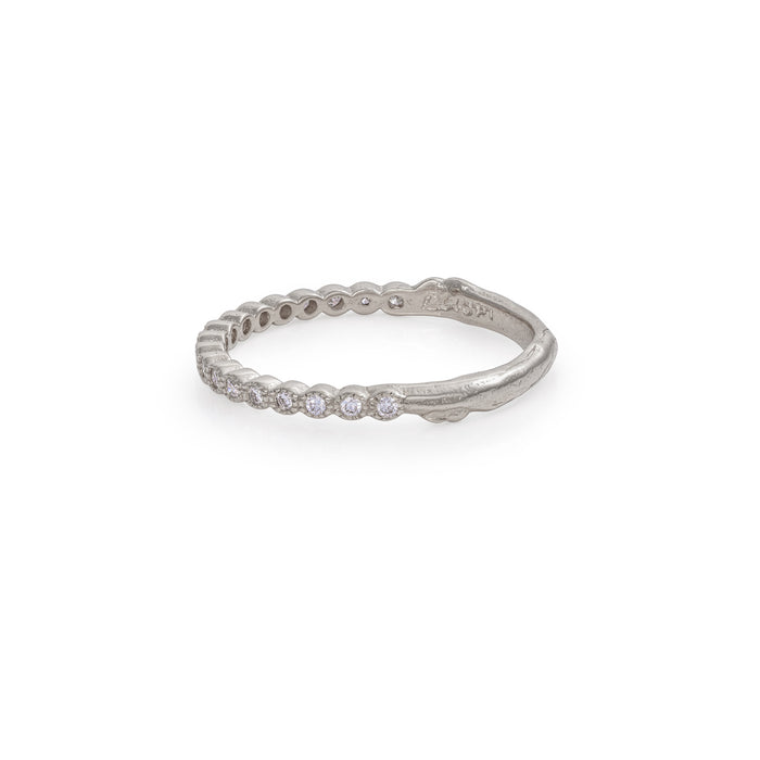 On-body shot of Solid White Gold Edwardian Hawthorn Diamond Half Eternity Ring