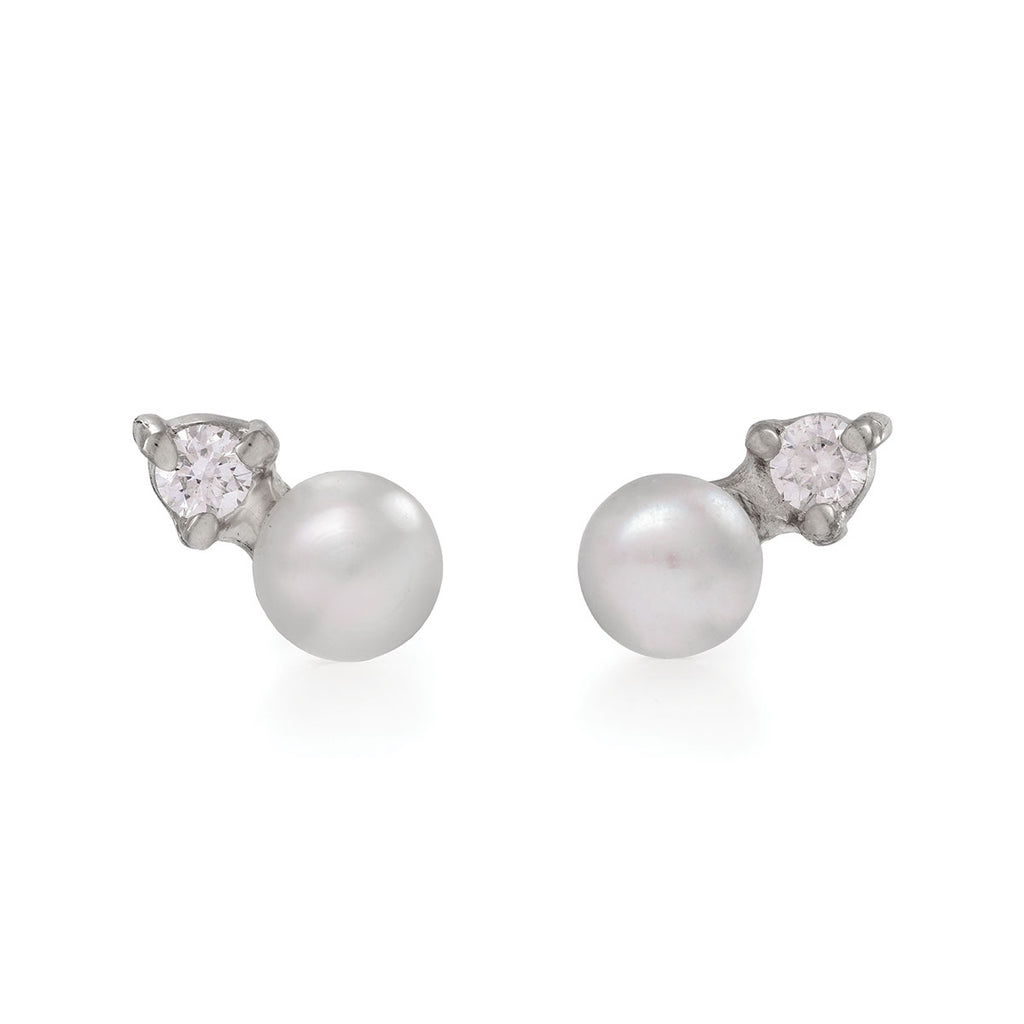 image-Solid White Gold Forever and a Day Pearl and Diamond Stud Earrings