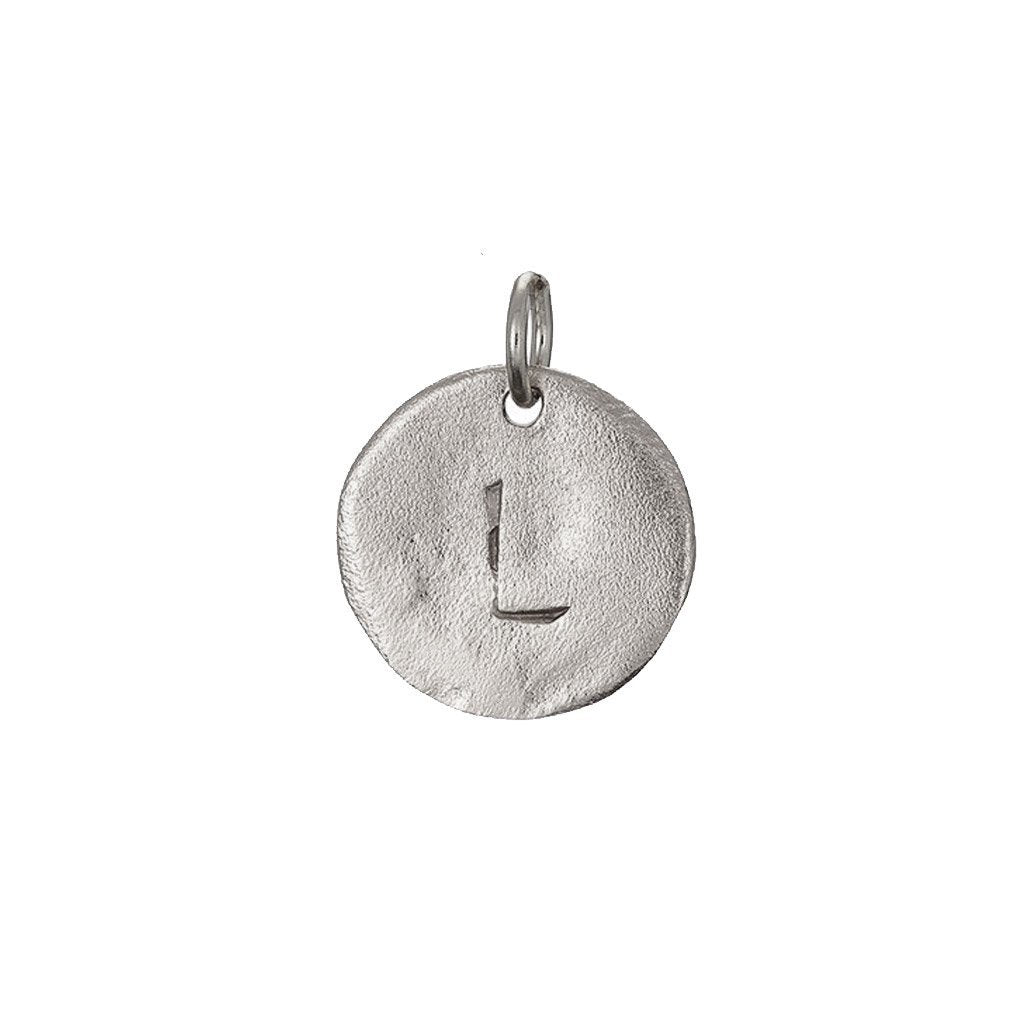 image-Individual Solid White Gold Initial Letter Maxi Disc