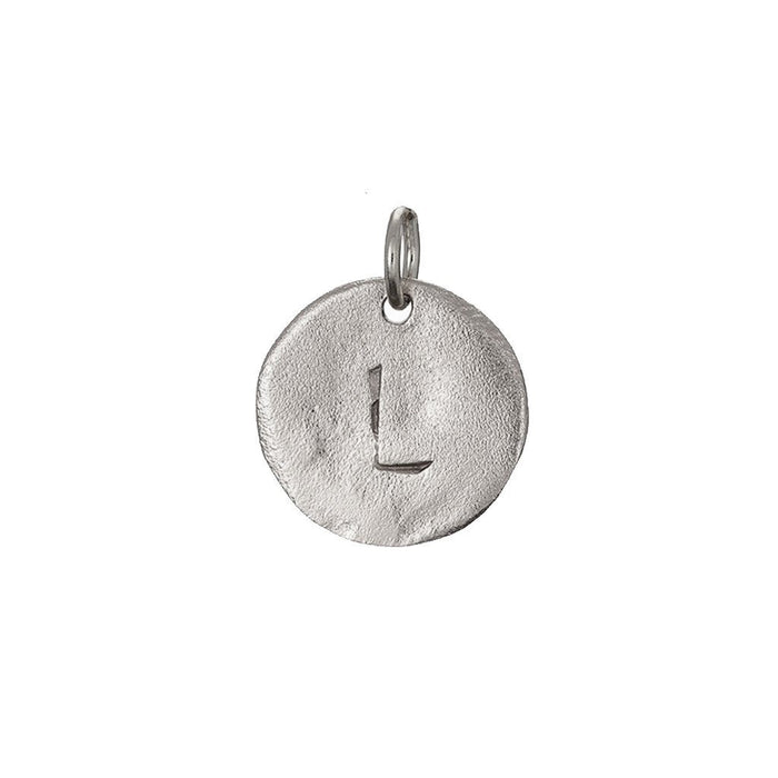 Chupi - Initial Letter Necklace - Midi Disc - Solid White Gold I Am Now Yours