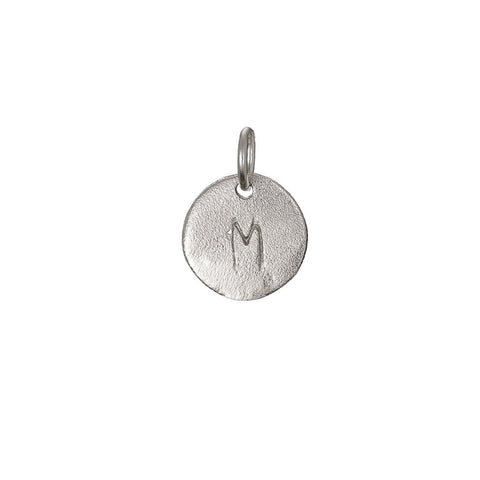 Chupi - Initial Letter Necklace - Tiny Disc - Solid White Gold I Am Now Yours