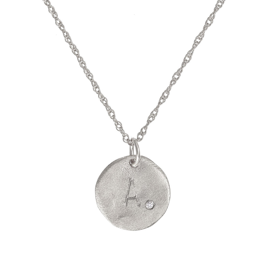 image-Solid White Gold Initial Letter Maxi Diamond Disc Necklace