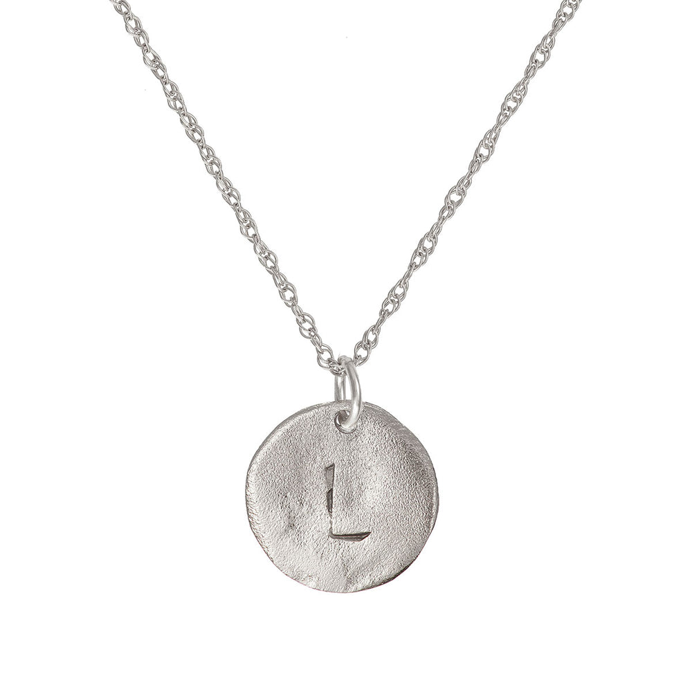 Solid White Gold Initial Letter Maxi Disc Necklace - One Disc