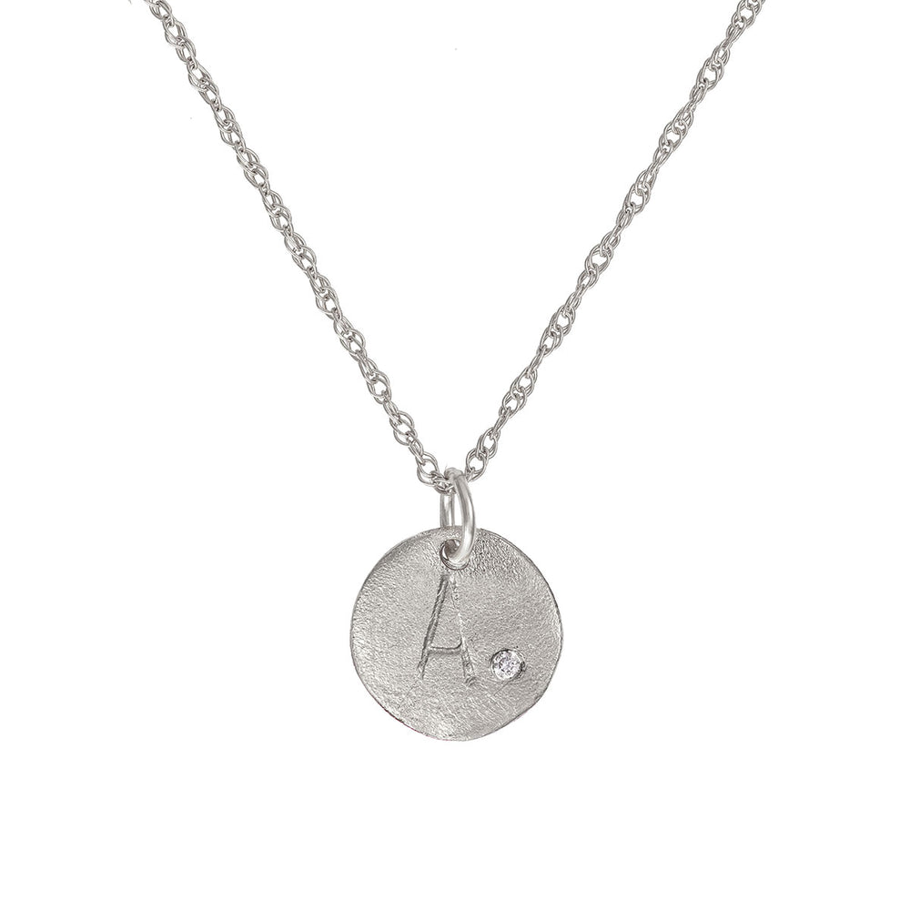 Solid White Gold Initial Letter Midi Diamond Disc Necklace - One Disc