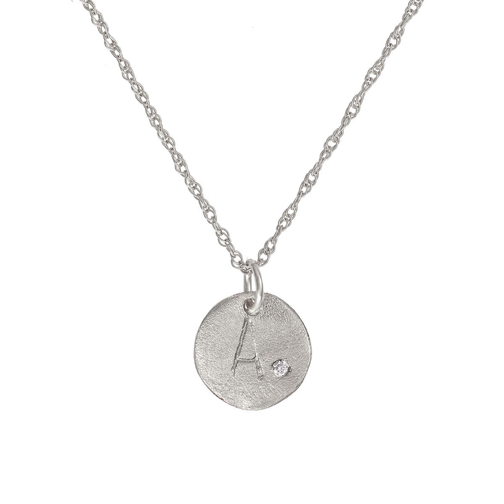 image-Solid White Gold Initial Letter Tiny Diamond Disc Necklace