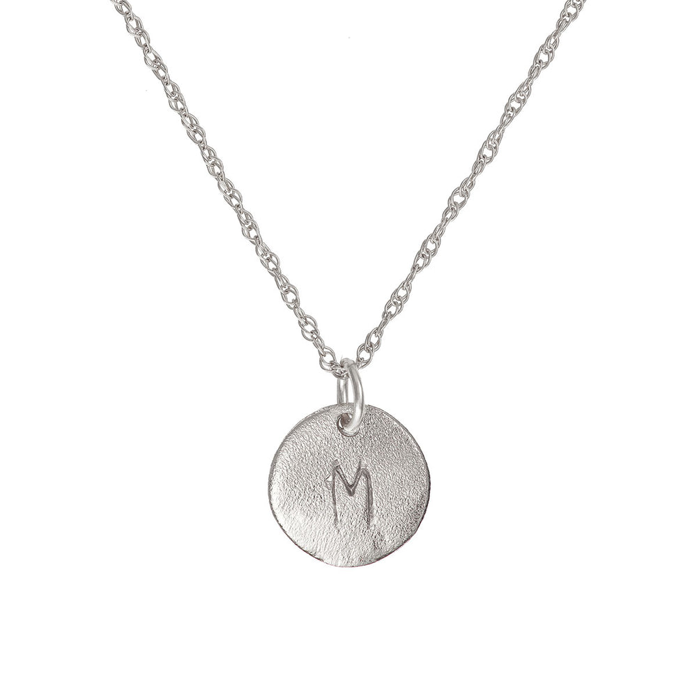 Solid White Gold Initial Letter Midi Disc Necklace - One Disc