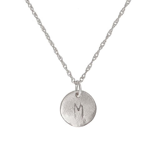Solid White Gold Initial Letter Midi Disc Necklace