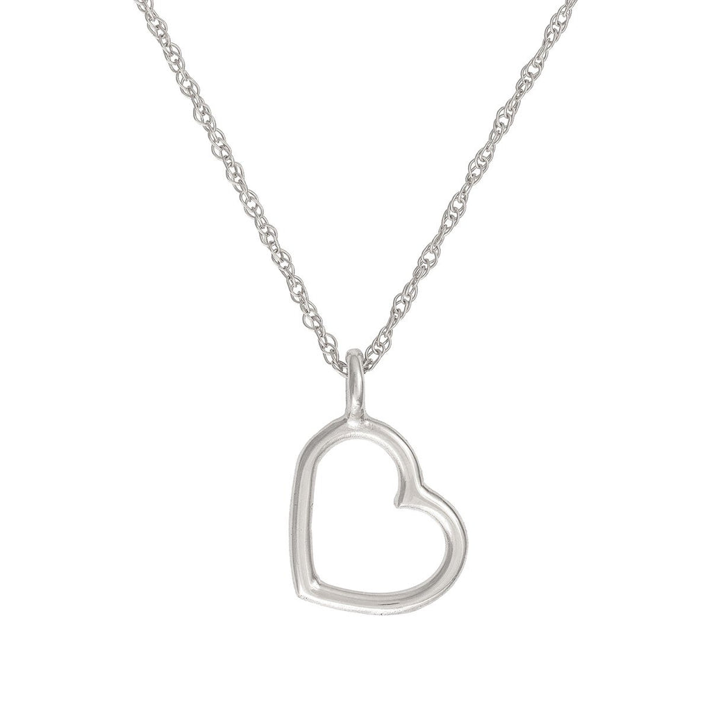 image-Solid White Gold Love Heart Necklace