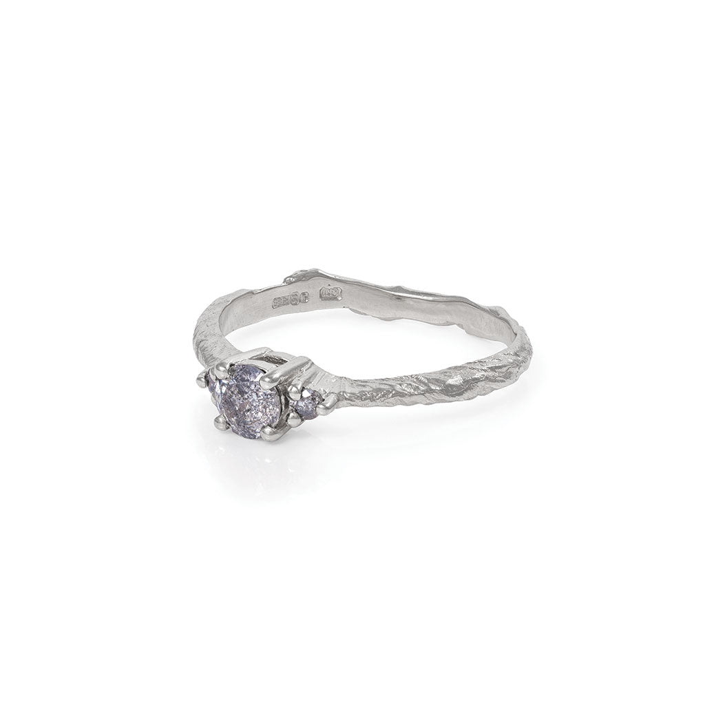 Solid White Gold Love is All - Grey Diamond Ring