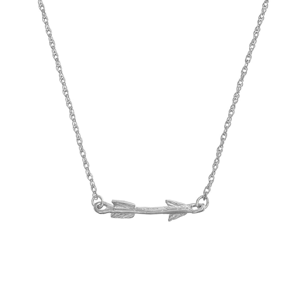 image-Solid White Gold Follow Your Dreams Arrow Necklace