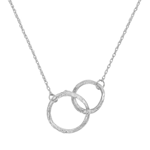 Chupi - Hawthorn Twig Double Circle Necklace - Solid White Gold Infinity