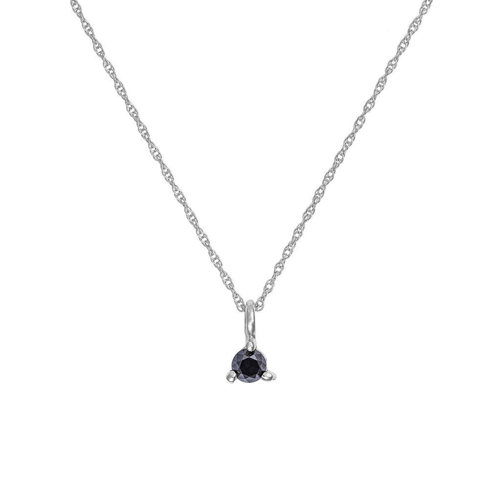 image-Solid White Gold Hope And Magic Necklace Black Diamond