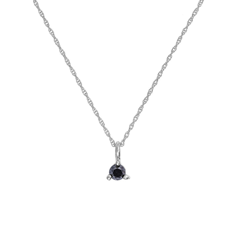 Chupi - Black Diamond Necklace - Solid White Gold Hope & Magic