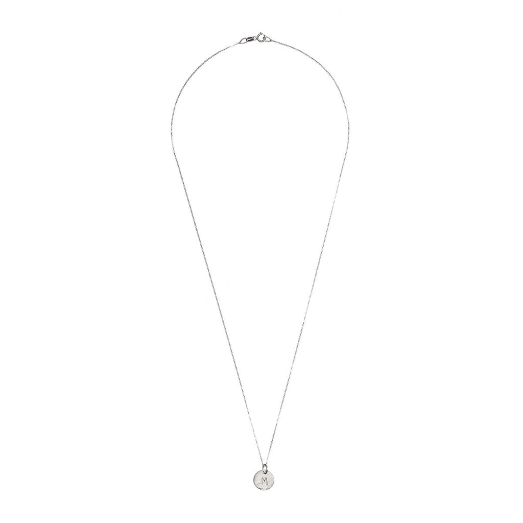 image-Solid White Gold Initial Letter Midi Disc Necklace