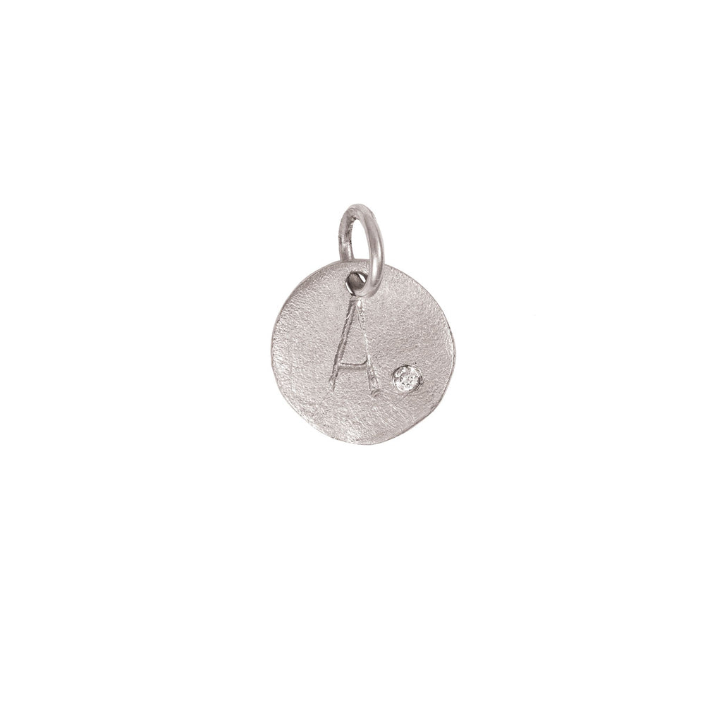 Individual Letter Disc With Diamond - 14k White Gold Initial