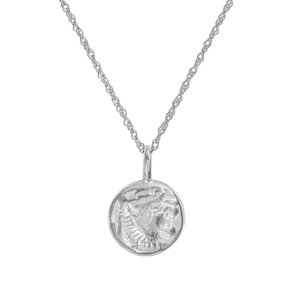 image-Solid White Gold Little Lion Heart Coin Necklace