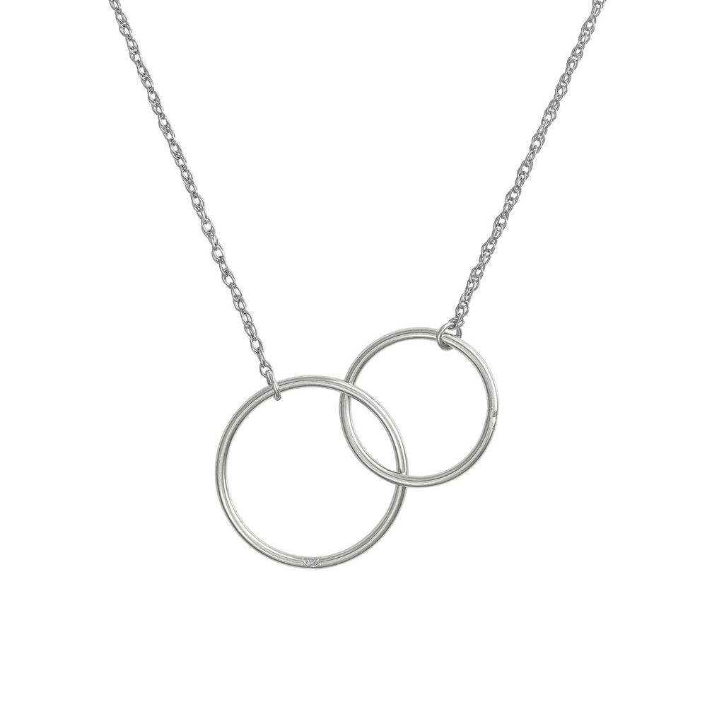 Chupi - Double Circle Necklace - Solid White Gold Love & Luck Chain
