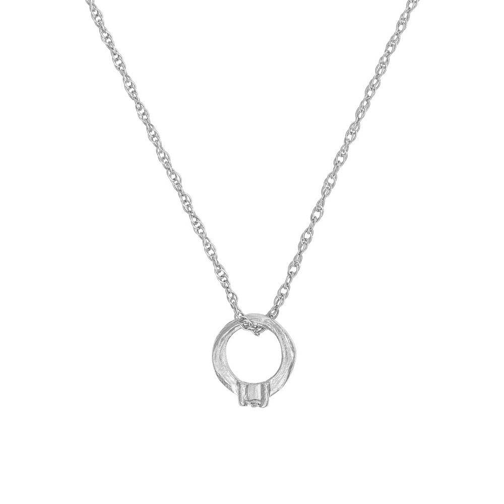 Solid White Gold Promise Ring Necklace