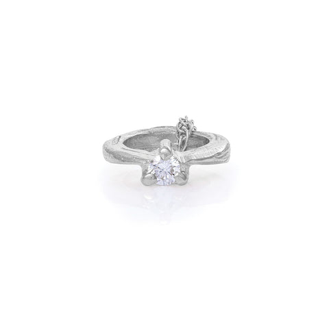 Chupi - Diamond Promise Ring Necklace - Solid White Gold