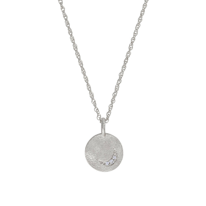 Solid White Gold Sun Moon & Stars Disc Necklace