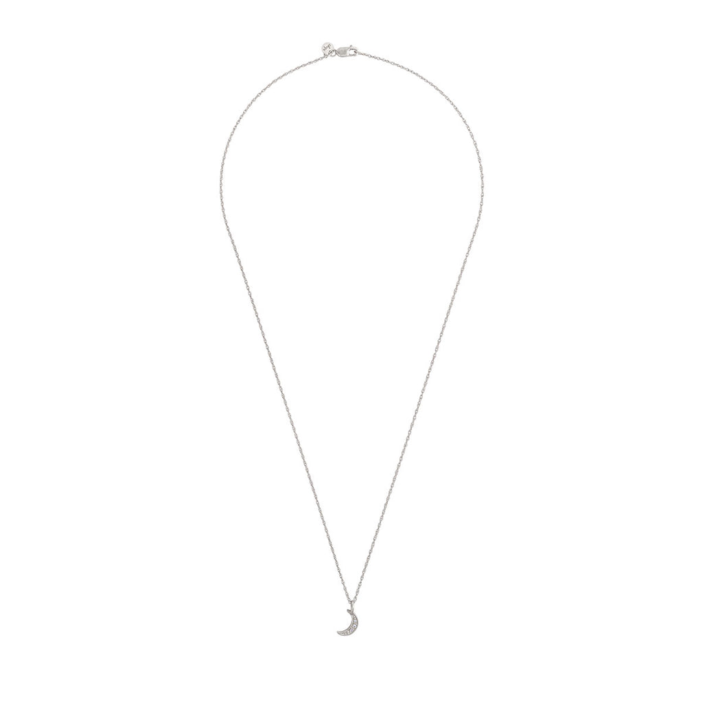 Chupi - Classic Diamond Moon Necklace - Solid White Gold To The Moon and Back