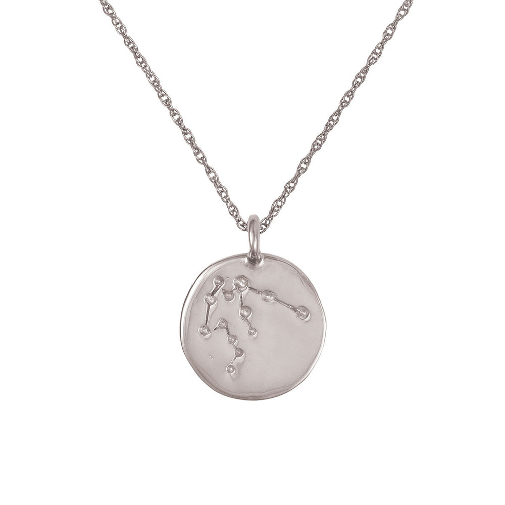 Chupi - Starsign Zodiac Necklace - Solid White Gold Aquarius - We Are All Made of Stars