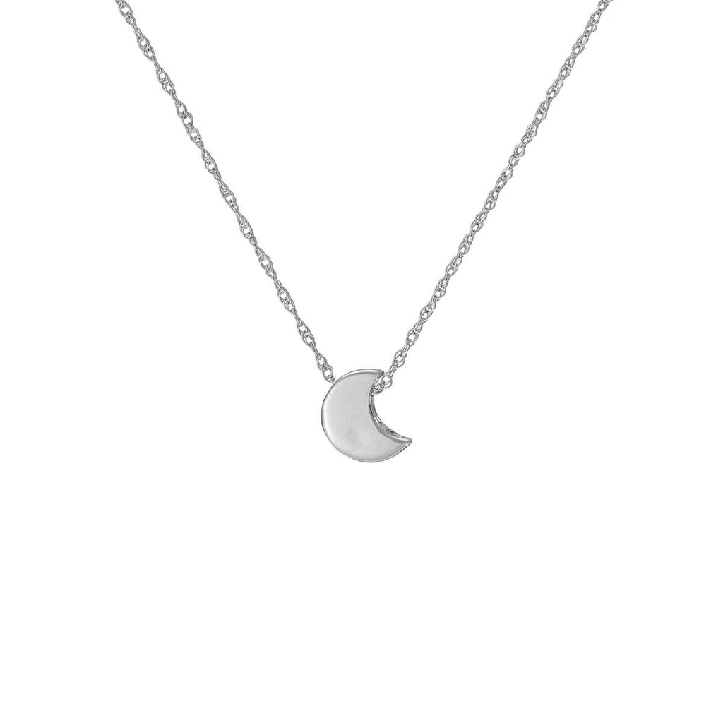image-Solid White Gold You Are The Moon Necklace