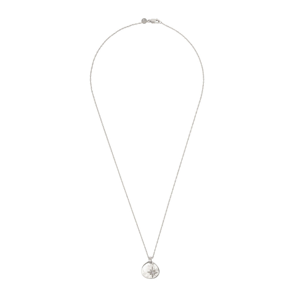image-Solid White Gold Your North Star Necklace Classic Diamond